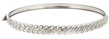 Sterling Silver Diamond Accent S Design Bangle Bracelet