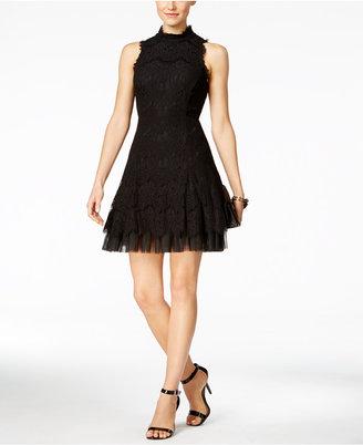 Betsy & Adam High-Neck Lace A-Line Dress $229 thestylecure.com