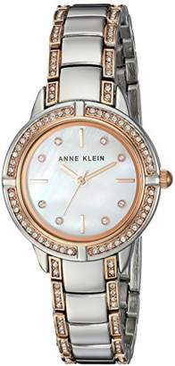 Anne Klein Women's AK/2977MPRT Swarovski Crystal Accented Rose Gold-Tone and Silver-Tone Bracelet Watch