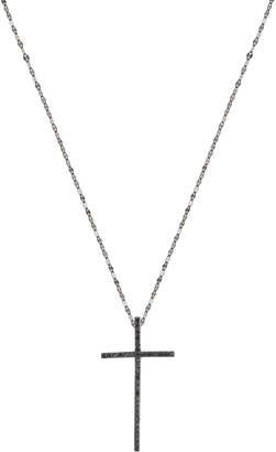 Lana Reckless 14K Black Gold Cross Pendant Necklace with Black Diamonds