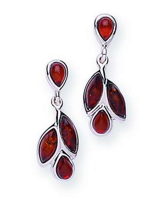 Goldmajor Sterling Silver and Amber Leaf Motif Drop Earrings
