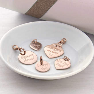 Hurleyburley Personalised Rose Gold Heart And Disc Charms