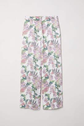 H&M Wide-cut Pants - Light khaki green/striped - Women