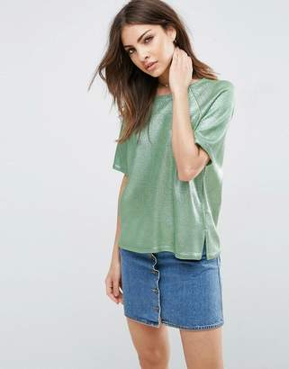 Asos Design Metallic T-Shirt in Knit