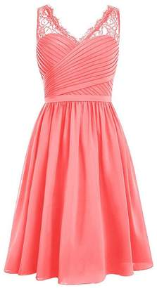 Cdress Chiffon Bridesmaid Dresses Short Cocktail Gowns Lace V-Neck Homecoming Dress US