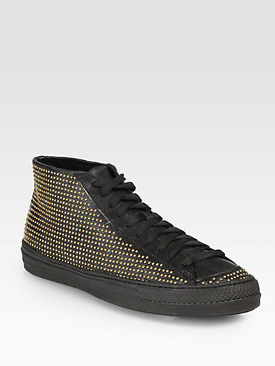 Burberry LF Fingall Studded Leather Sneakers