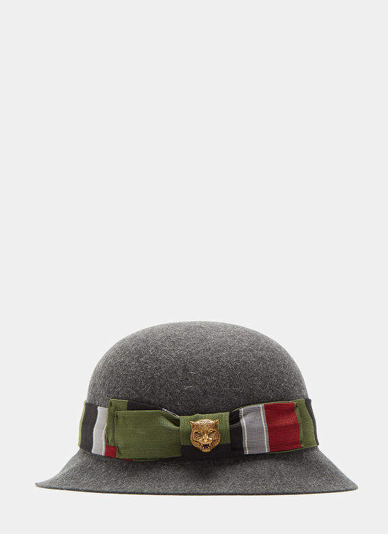 gucci tapestry ribbon felted bowler hat in grey herren. Black Bedroom Furniture Sets. Home Design Ideas