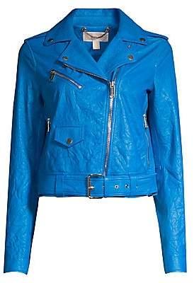 MICHAEL Michael Kors Women's Soft Crinkle Leather Moto Jacket