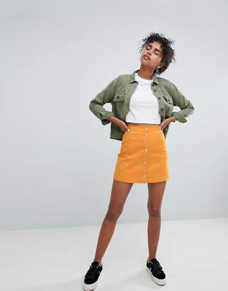 Monki button up denim skirt in mustard