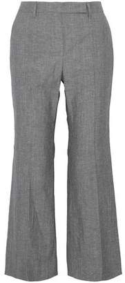 Brunello Cucinelli Cropped Wool And Linen-Blend Canvas Flared Pants
