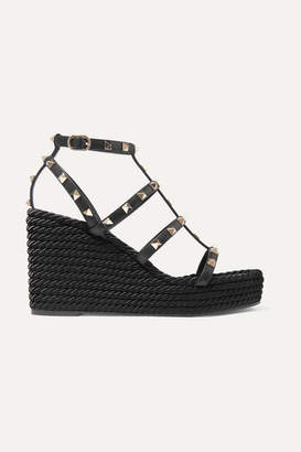 Valentino Garavani The Rockstud 95 Leather Espadrille Wedge Sandals - Black