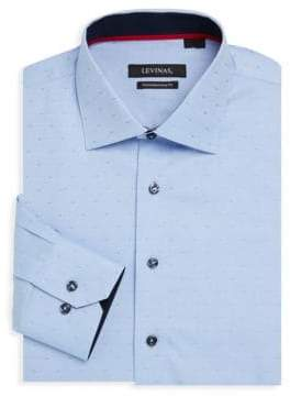 Contemporary-Fit Micro Dot Cotton Dress Shirt