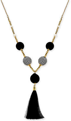 "INC International Concepts I.n.c. Gold-Tone Bead & Wrapped Ball Tassel Pendant Necklace, 36"" + 3"" extender, Created for Macy's"