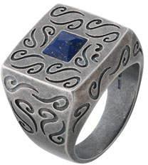 Lapis Marco Dal Maso Men's Oxidized Silver Ring with Lapis, Size 10
