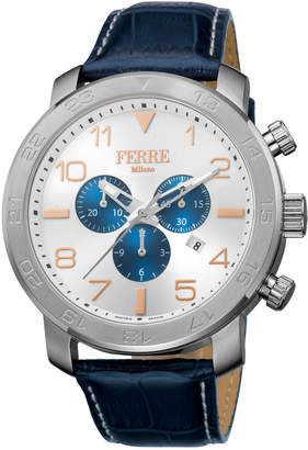 Ferré Milano Men's 48mm Stainless Steel Chronograph Watch with Leather Strap, Steel/Blue