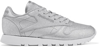 Reebok - Classic Metallic Leather Sneakers - Silver $90 thestylecure.com