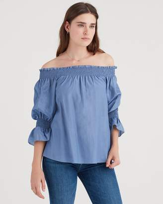 7 For All Mankind Off Shoulder Smock Top in Persian Blue