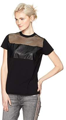 Camp Moonlight Women's T-Shirt With Fishnet and Synthetic Leather