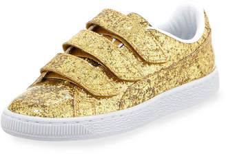Puma Three-Strap Glittered Low-Top Sneakers, Gold
