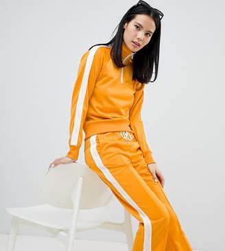 Monki side stripe track pants in mustard