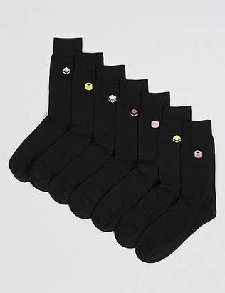 """Marks and Spencer 7 Pack Liquorice Design Freshfeetâ""""¢ Socks"""