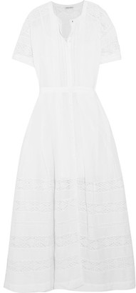 LoveShackFancy - Edie Crocheted Lace-paneled Cotton Maxi Dress - White $295 thestylecure.com