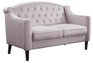 Acme Freesia Button Tufted Backrest Loveseat in Cream Fabric