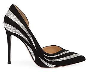 Gianvito Rossi Women's Glitter Stripe Suede & Silk Pumps