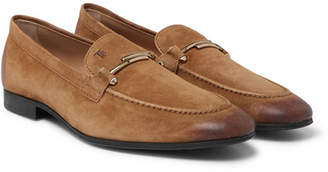 Tod's Burnished-Suede Loafers - Light brown