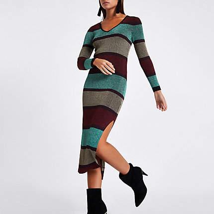 Womens Purple stripe V neck bodycon midi dress