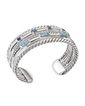 David Yurman Stax Wide Diamond & Topaz Bracelet, Size Small & Medium