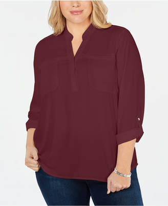 NY Collection Plus Size Roll-Tab-Sleeve Utility Shirt