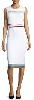 Diane von Furstenberg Ribbon Knit Sleeveless Sheath Dress, Ivory $398 thestylecure.com