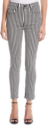 Rag & Bone Striped High-Rise Ankle Skinny Jeans
