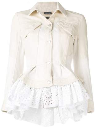 Alexander McQueen frill-trim denim jacket
