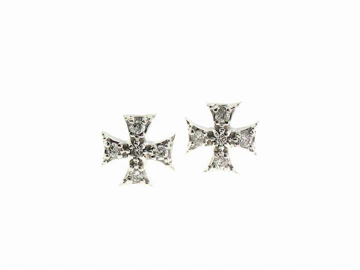 Mizuki Tiny Maltese Cross Studs in White Gold