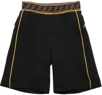Fendi Logo Waistband Cotton Sweat Shorts