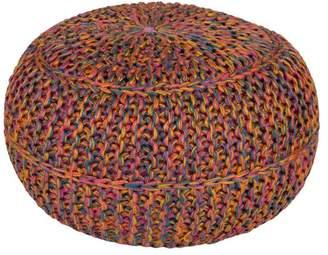 Surya Wisteria Sphere Pouf, Bright Pink, Mustard