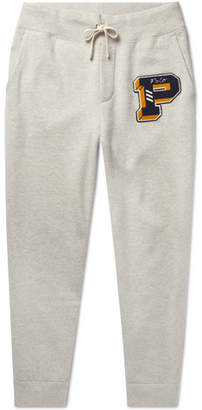 Polo Ralph Lauren Tapered Logo-Appliquéd Mélange Fleece-Back Cotton-Blend Jersey Sweatpants