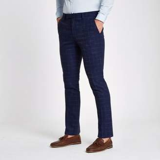 River Island Mens Navy check skinny fit suit pants