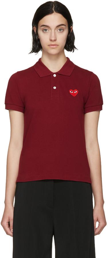 Comme des Garcons Burgundy Red Emblem Polo