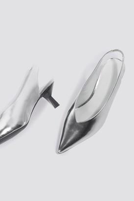 3a24bd510059 Na Kd Shoes Metallic Kitten Heel Pumps Ice Blue