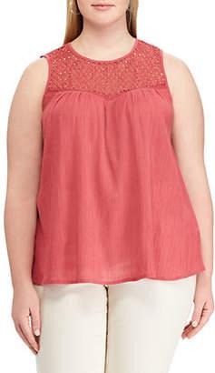 Chaps Plus Lace Yoke Sleeveless Cotton Top