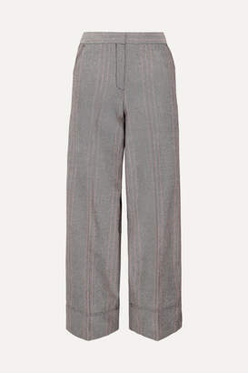 By Malene Birger Enilas Checked Cotton-blend Twill Wide-leg Pants - Gray