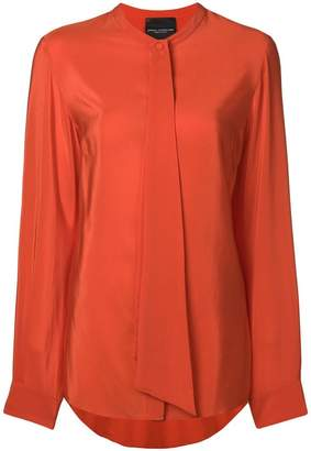 Cavallini Erika draped detail collarless blouse