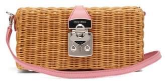Miu Miu Leather Trimmed Wicker Bag - Womens - Pink Multi