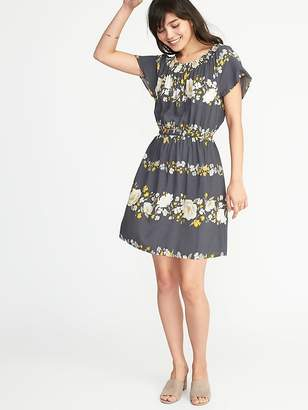 Old Navy Waist-Defined Smocked-Neck Dress for Women
