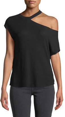 RtA Axel One-Shoulder Short-Sleeve Top