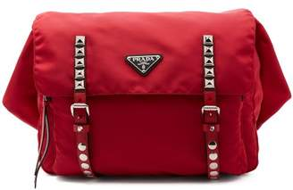 Prada New Vela Leather Trimmed Belt Bag - Womens - Red Multi