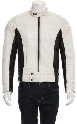 Prada Sport Leather Two-Tone Cafe Racer Jacket